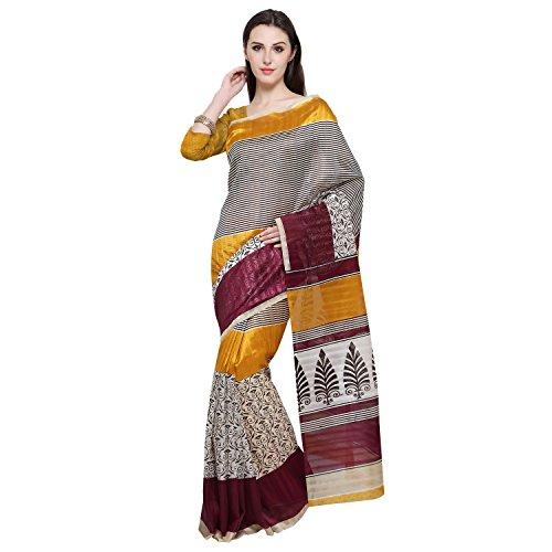 Oomph! Women's Art Silk Saree with Blouse Piece (rbks_Salt Light & Gold...