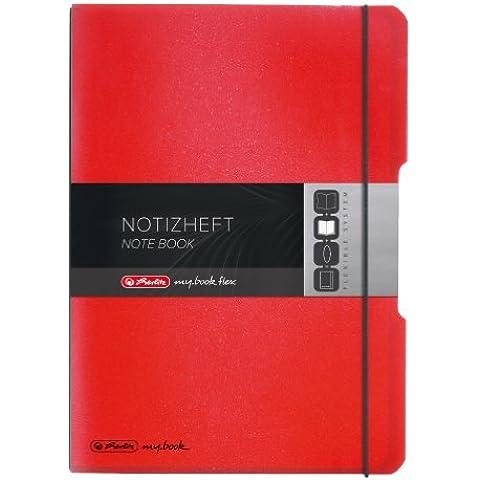 Herlitz my.book flex - Cuaderno de notas (A4, tapas intercambiables de polipropileno, cierre mediante goma, 2 x 40 hojas), color negro y rojo