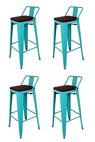 La Chaise Espagnole - Lot de 4 Tabourets de style Tolix avec dossier et siège en bois Bleu Turquoise, 95x43x43