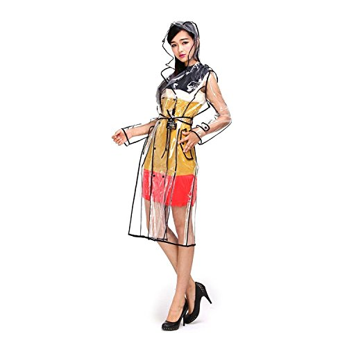 Di modo alla moda delle donne della signora delle ragazze delle signore di EVA trasparente veloci cappotti del rivestimento a secco con cappuccio impermeabile bella pioggia svegli indumenti impermeabili Mackintosh con cintura in vita Xagoo (stile 1)