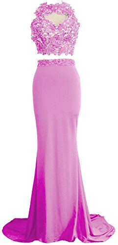 MACloth Women Mermaid 2 Piece Long Prom Dress Lace Jersey Evening Formal Gown Rosa