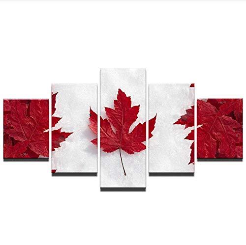 nvhaishiwo Vintage Gedruckt Malerei Kanadische Flagge Leinwanddruck Malerei Gerahmte Home Decor Kunst Poster Ahorn 5 Stücke Architektur -
