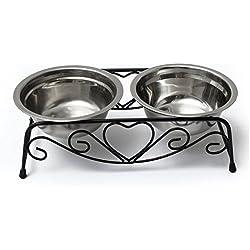 Double gamelles eau/nourriture en acier inoxydable pour chien/chat/chiot de la marque Yosoo avec support en métal style rétro