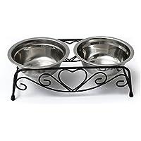 Yosoo Double bols en acier inoxydable pour chien chat chiot eau/nourriture Support en fer style rétro