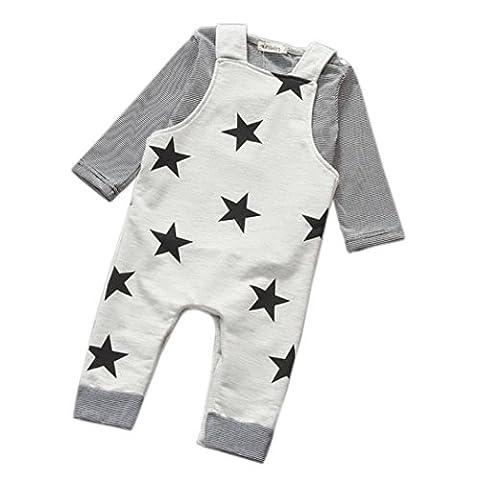 Outfits Jungen Kolylong 1 Satz Jungen Streifen-T-Shirt Top Trägerhose Insgesamt Outfits (80, grau)