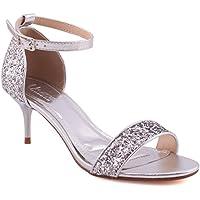 """d346fddda8f Unze Women """"LEXII"""" Fashion Kitten Heel Open Toe Classic Ankle Strap Shimmer  Closed Heel"""