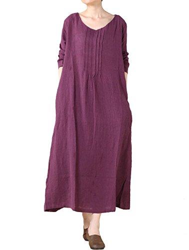 Vogstyle Damen Leinen V-Ausschnitt Maxikleid Violett