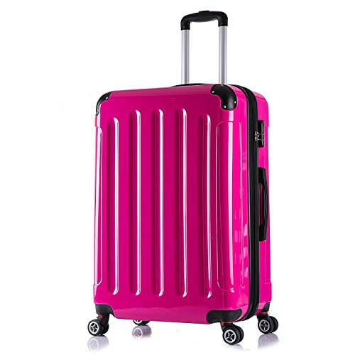 WOLTU RK4211pk, Reise Koffer Trolley Hartschale ABS+PC Hochglanz Volumen erweiterbar, Reisekoffer Hartschalenkoffer 4 Rollen, M / L / XL / Set, leicht und...