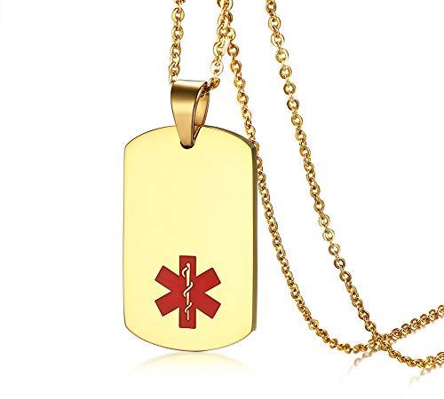 PJ JEWELLERY Benutzerdefinierte Gravur Medic Informationen Black Ion Plated Dogtag Medical Alert ID Anhänger Halskette mit Kette