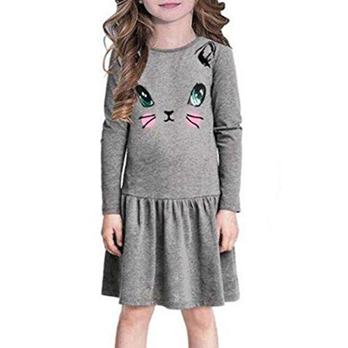 (Longra Kinder Mädchen Herbst Kleidung Katze Bedruckte Kleider Kinder Kleidung Prinzessin Kleid Mädchen Casual Langarm T-Shirt Kleid(3-7Jahre) (110CM 5Jahre, Gray))