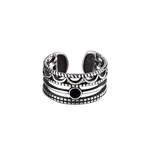 Mayanyan S925 Sterlingsilber-Ring Jahrgang Gravierte Öffnungs justierbare Ring-Frauen-Verlobungsring Schmuck