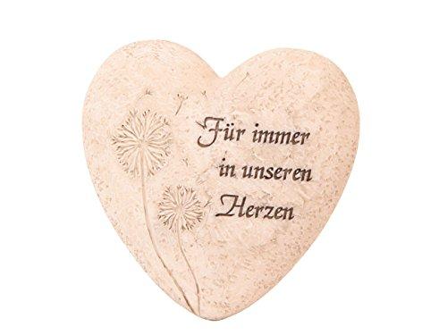 """meindekoartikel Herz mit Pusteblume """"Für Immer in Unseren Herzen"""" Creme 9,5×3,5x10cm"""