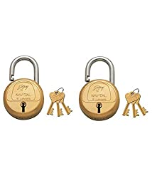 Godrej Locks Navtal 6 Levers Brass Lock with 3 Keys (Brown, Set of 2)