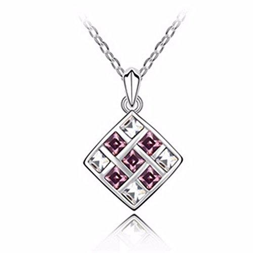 QIYUEQI Damen Kette Halskette Mit Anhänger Kommt In Eleganten Geschenk-Box, Nickel-Freie Bestanden Sgs Test Crystal Violett Frau