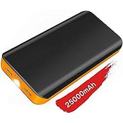 Power Bank Ricarica Rapida,25000 mah Batteria Esterna ad Alta Capacità con Due Porte USB di 2.1A/1A),Ingresso di 2A,Ricarica per Iphone, Samsung, Huawei, Xiaomi e Altri Smartphone