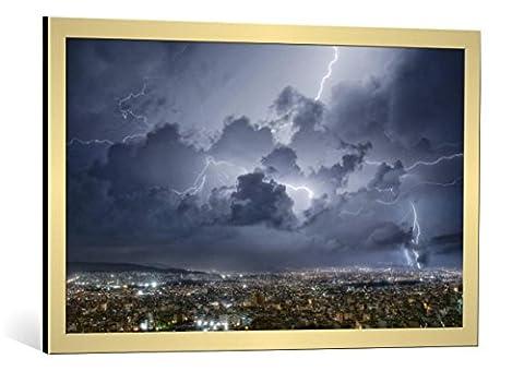 """Image encadrée: ChrisKaddas """"Lightning over Athens"""" - impression d"""