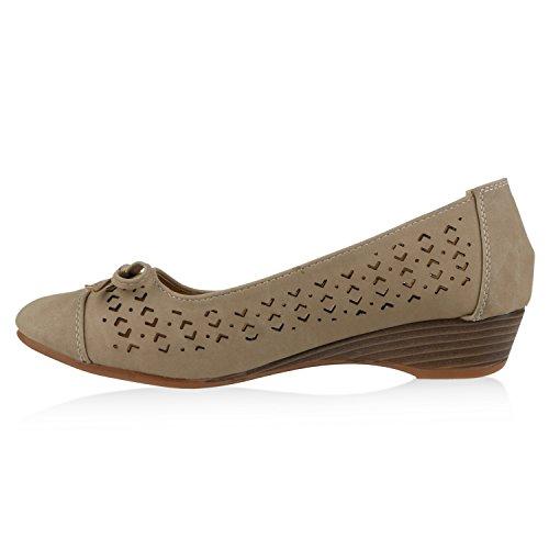 Damen Komfort Schuhe Perlen Pumps Schleifen Keilpumps Slipper Nude Velours Arriate