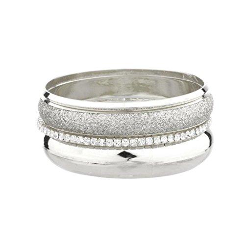 Lux accessori Glitter Glam-Bracciale rigido apribile, in metallo.