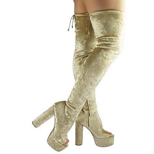 Senhoras Planalto Bloco Calcanhar Ao Longo Da Coxa Do Joelho Botas De Cano Alto Toe Recorte Sapatos Tamanho Da Pedra Panne Amt