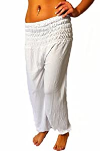 Oriental Womens Harem Pants Aladdin Trousers Ladies Baggy Pants, white