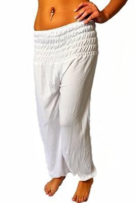 Oriental Womens Harem Pants Aladdin Trousers Ladies Baggy Pants, white