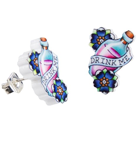 Drink Me Wonderland Tattoo Stud Earrings from Punky Pins