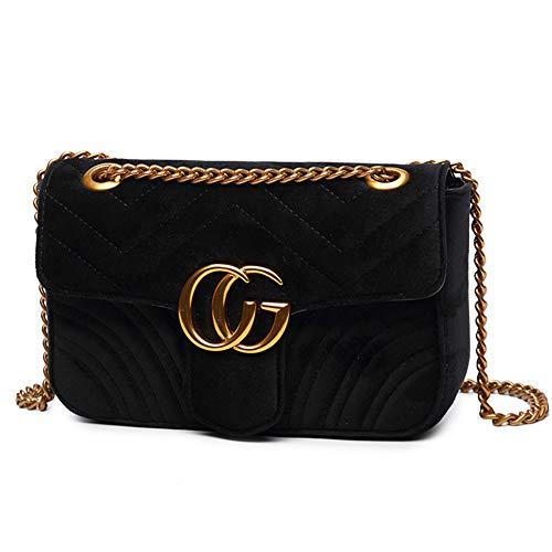 Velvet Gesteppte Umhängetasche Crossbody Handtaschen für Frauen mit Verstellbarer Goldkette - Schwarz (Hobo Handtasche Medium)