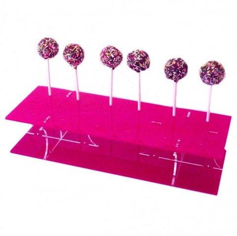 Super Cool Creations 31x 13cm 6,5cm hoch Acryl Rechteck Cake Pop-Ständer mit 12Löcher 5cm Apart, Pink (Pink Cake Pop-ständer)