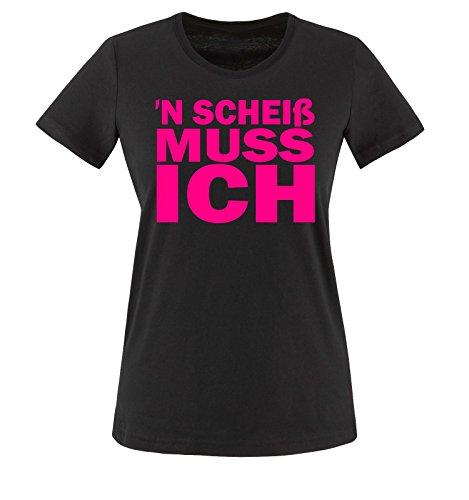 38819f80d13a31 N Scheiß muss ich - Damen T-Shirt Schwarz   Pink Gr. M