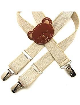 VAELLO - Tirante elástico ajustable 3 pinzas con espalda con forma de oso en piel, para infantil