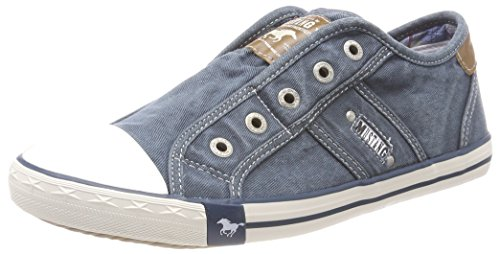 Mustang Damen 1099-401 Slip On Sneaker, Blau (Blau/Grün), 38 EU