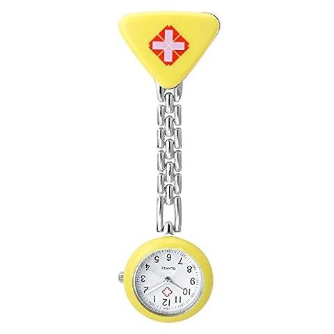 JSDDE Montre de poche femme quartz Coloré triangulaire croix Bracelet en métal montre d'infirmière montre en plastique Jaune