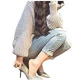Sweater Damen Herbst Winter Knit Pullover Fledermausärmel Rundhals Loose Jungen Chic Casual Dicke Warm Pullis Strickpullover (Color : Grau, Size : One Size)
