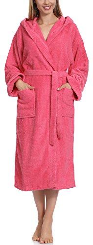 Ladeheid Damen Frottee Bademantel aus 100% Baumwolle LA40-102(Rosa (M13), S) -