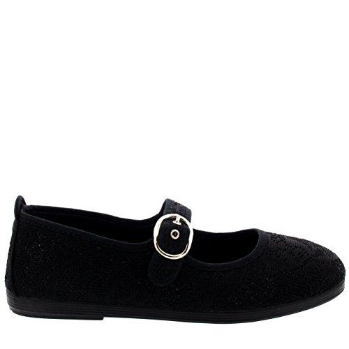 Femme Flossy Vilena Noir Mary Jane Toile Casual Chaussures De Travail D'école Noir