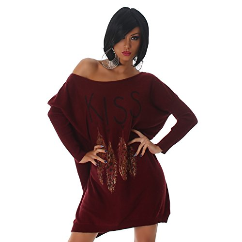 Jela London Damen Feinripp-Pullover mit Aufdruck | Longpulli | Oversize | Einheitsgröße (34 36 38 40) Dunkelrot