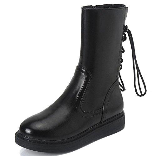 femmes court bottes cuir faible talons appartement plus épais chaud laçage lacet cheville chaussures