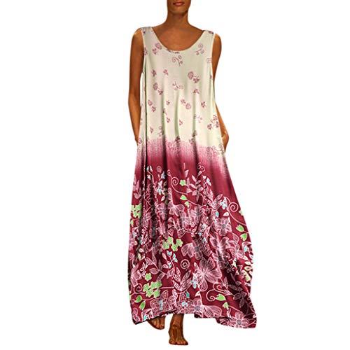 MAYOGO Kleid Damen Sommer Lang Elegant Schick Große Größen Ärmellose Maxikleid Schmetterling Muster Casual Cool Leichte Kleider mit Tasche S-5XL (Erwachsene Für Kleines Kleider Mädchen)