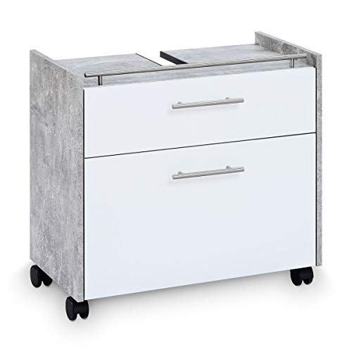 Galdem Waschbeckenunterschrank Elegance mit 2 Schubladen und Rollenfüßen Bad Möbel Badschrank Gäste WC Gästebad Waschtisch Unterschrank Holz Beton Weiß -