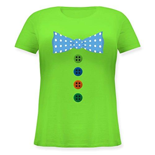 Karneval & Fasching - Clown Kostüm Blaue Fliege - Lockeres Damen-Shirt in großen Größen mit Rundhalsausschnitt Hellgrün