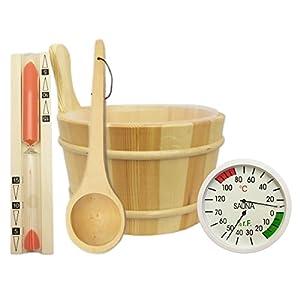 Sauna Zubehör Set 5-teilig – Saunakübel Saunakelle Sanduhr Thermohygrometer Saunazubehör