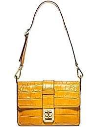 Michael Kors Mila Croco Embossed Large Shoulder Bag Sun