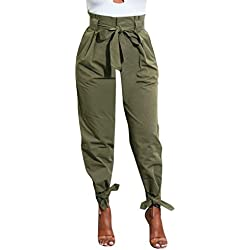 CICIYONER Pantalones para Mujer con cinturón de Cintura Alta Ladies Party Casual
