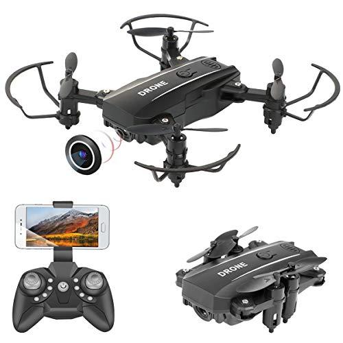 PROACC Mini Drone Pieghevole con Telecamera, WiFi Telecomando Quadricottero FPV a 2,4 GHz con Fotocamera HD1080P per Bambini Principianti Adulti