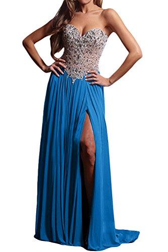 Toscana sposa smaltato a forma di cuore kraftool cristallo Chiffon sera lungo Party Ball un'ampia vestimento Blau