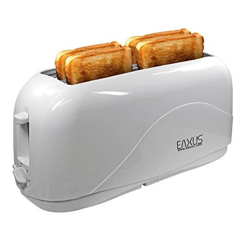 Eaxus®️ 4-Scheiben Toaster 1300 Watt mit Cool Touch Gehäuse. Langschlitz-Toaster/Automatik-Toaster mit 7 Bräunungsstufen und Krümelschublade. Perfekt für Familien. Weiß