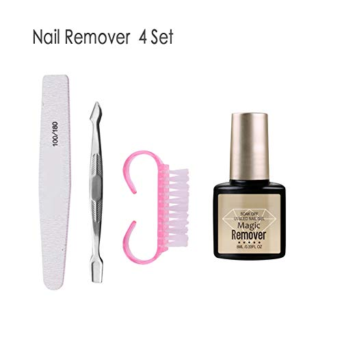 Ardorlove 4pcs/7pcs Nail Polish Remover Kit 8ml Nail Remover Bursting Gel,Nail Brush,Dead Skin Pusher,Sealing Layer,Polishing Strip,Lock Pocket Nail Care Set Tools -