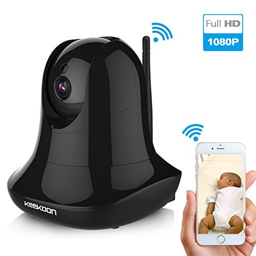 KEEKOON HD 1080P Wireless IP Camera WiFi Baby Pet Monitor Built In Microphone Pan/Tilt/Zoom Home Security Surveillance Camera Support 64 GB SD Card HD Night Vision Two-Way Audio (Black)
