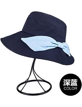 Negro, Algodón, Flat - Topped Hat, Verano, Sombrero De Sol, Sombrero De Sol, 57Cm,Azul Marino
