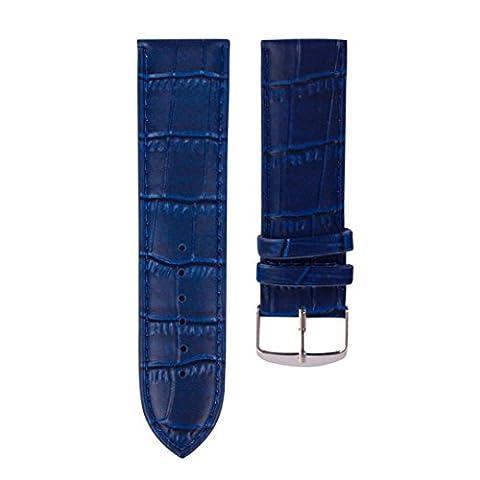 kingko® 20mm de haute qualité Bandeau souple en cuir Strap de boucle en acier montre bracelet (marine)